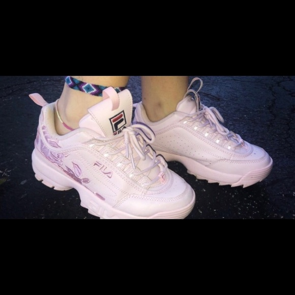 Baby Pink Rose Embroidered Fila Shoes